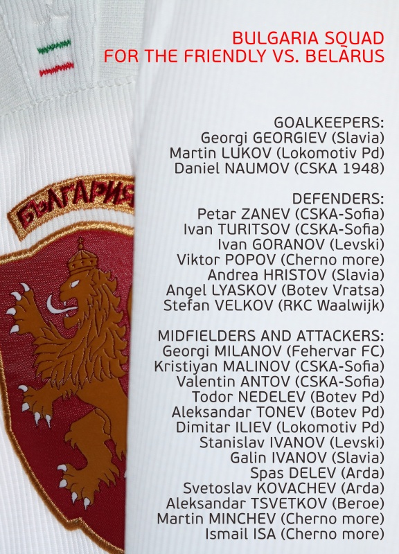 Bulgaria squad for the friendly game against Belarus